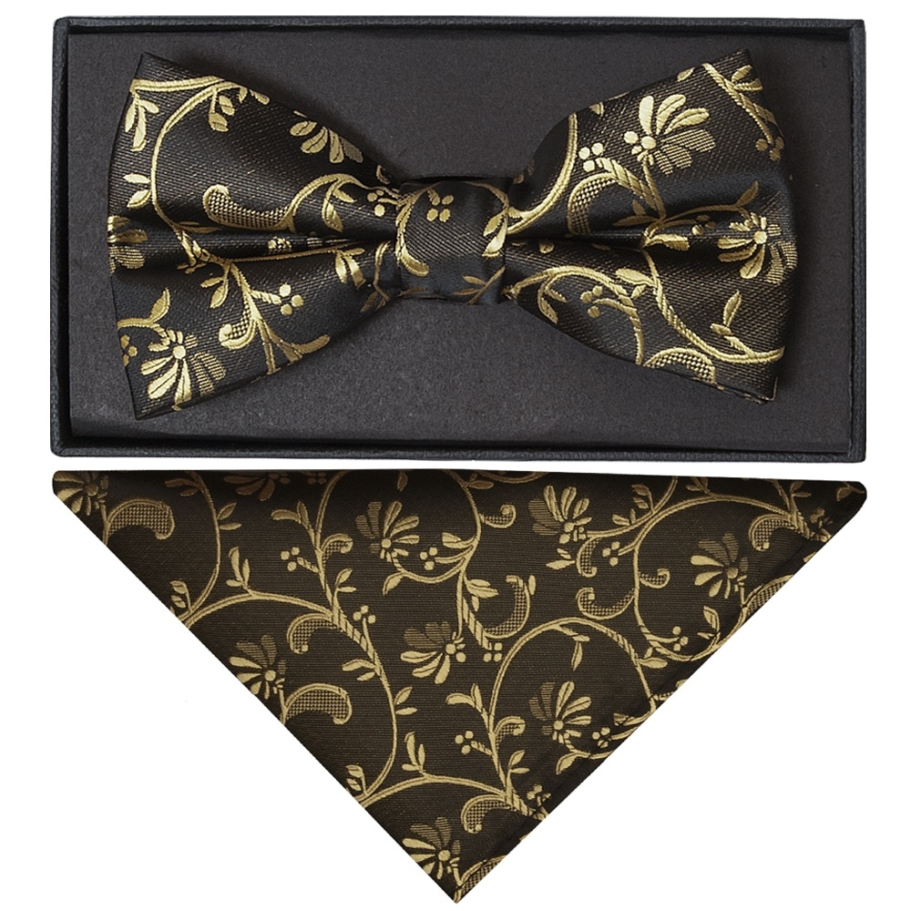 Black with Gold Floral Handmade Mens Bow Tie and Pocket Square Set Wedding Tie