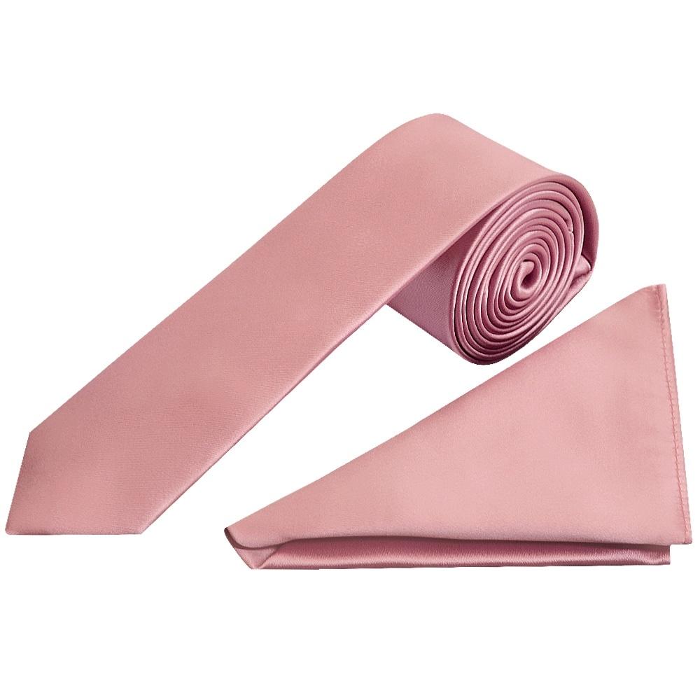 3974cf53445a Dusty Pink Satin Tie and Handkerchief Set  Skinny Tie Handkerchief set