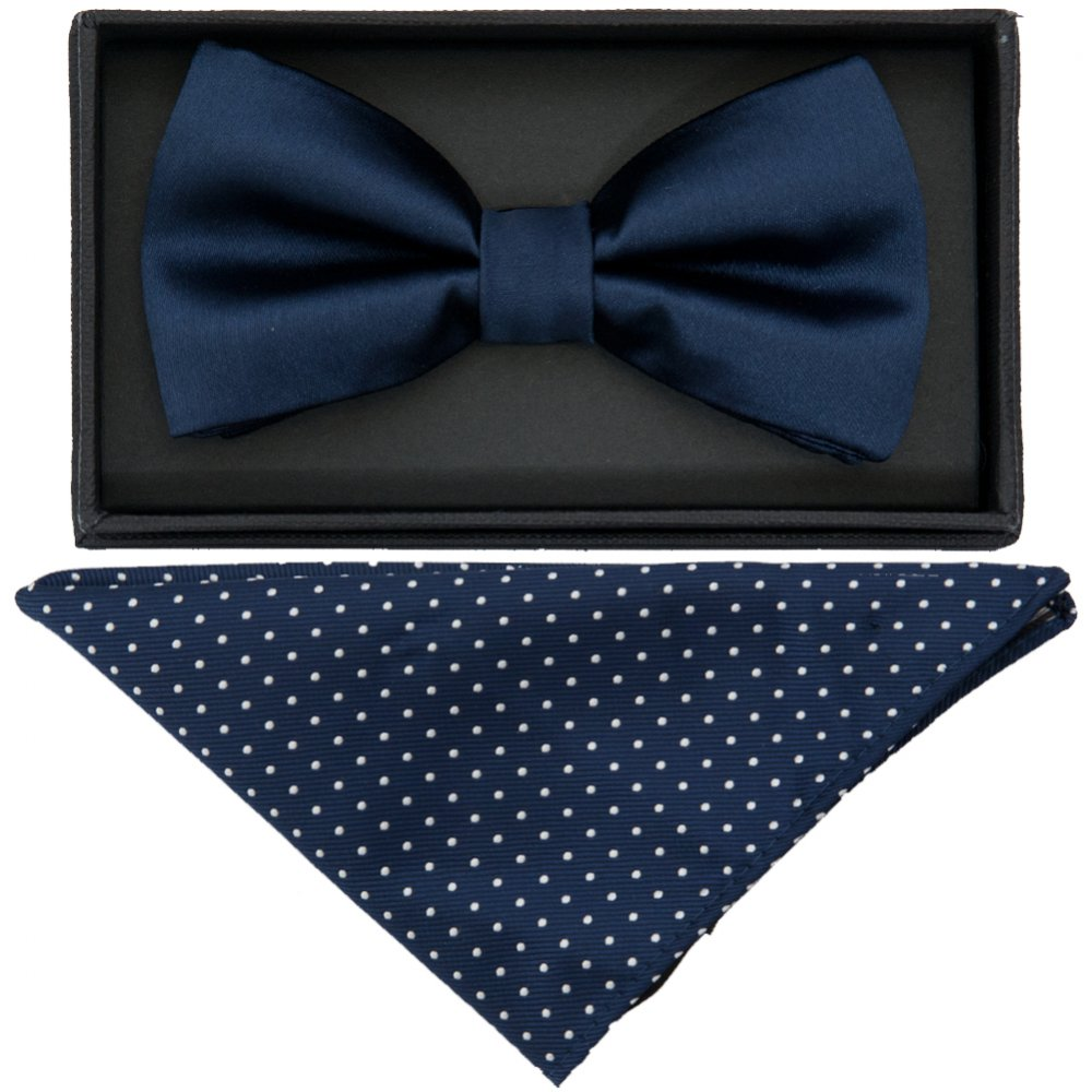 Silvery Dots Navy Mens Fashion Silvery Dots Pre-tied Bowtie Pocket Square Set