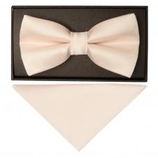 092893644926d Plain Blush Handmade Mens Bow Tie and Pocket Square Set