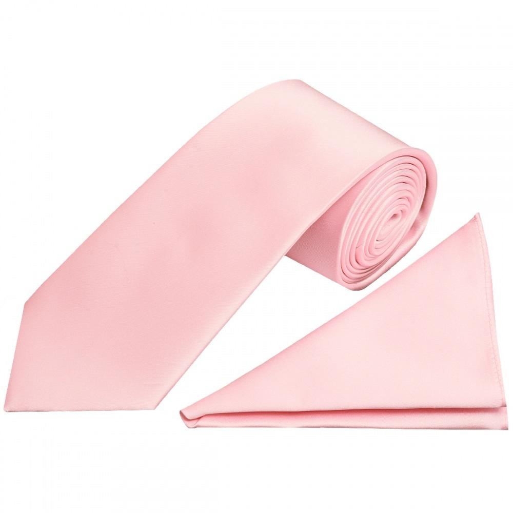 Blush Pink Classic Satin Tie And Handkerchief Regular