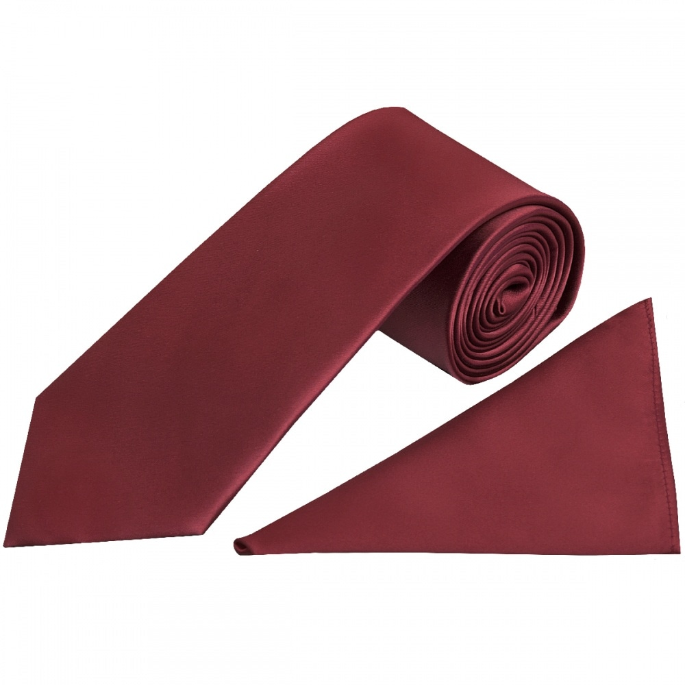 aef461aaa686 Burgundy Satin Tie and Handkerchief Set | Pocket Square and Tie Set