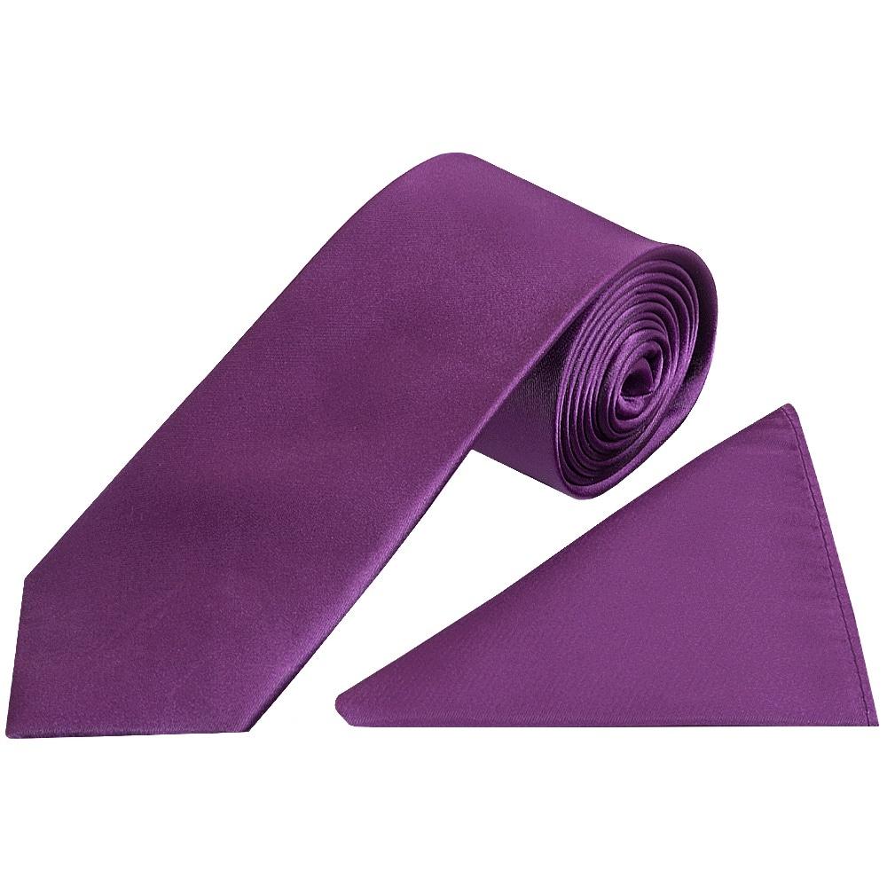 Plain Cadbury Purple Satin Silk Classic Mens Tie And