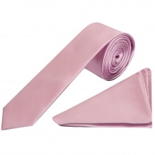 d89391e623a5 Plain Light Dusty Pink Satin Skinny Boys Tie and Pocket Square Set