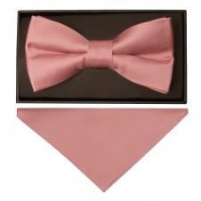 fcf08ac7730bf Plain Rose Gold Handmade Mens Bow Tie and Pocket Square Set