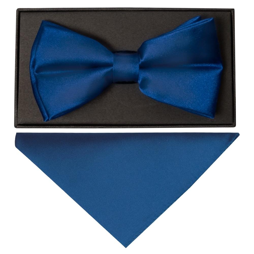 Plain Royal Blue Satin Silk Mens Bow Tie And Pocket Square Set