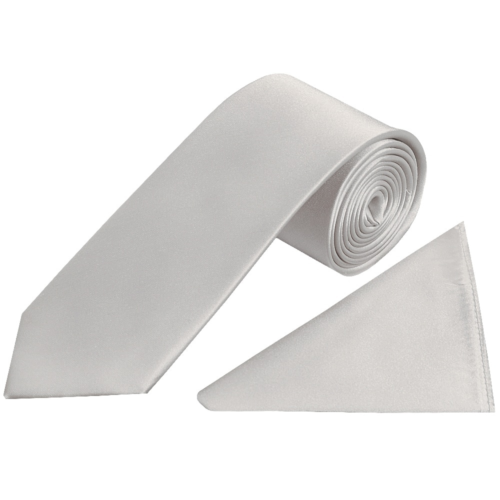 Plain Silver Satin Silk Classic Men's Tie And Pocket