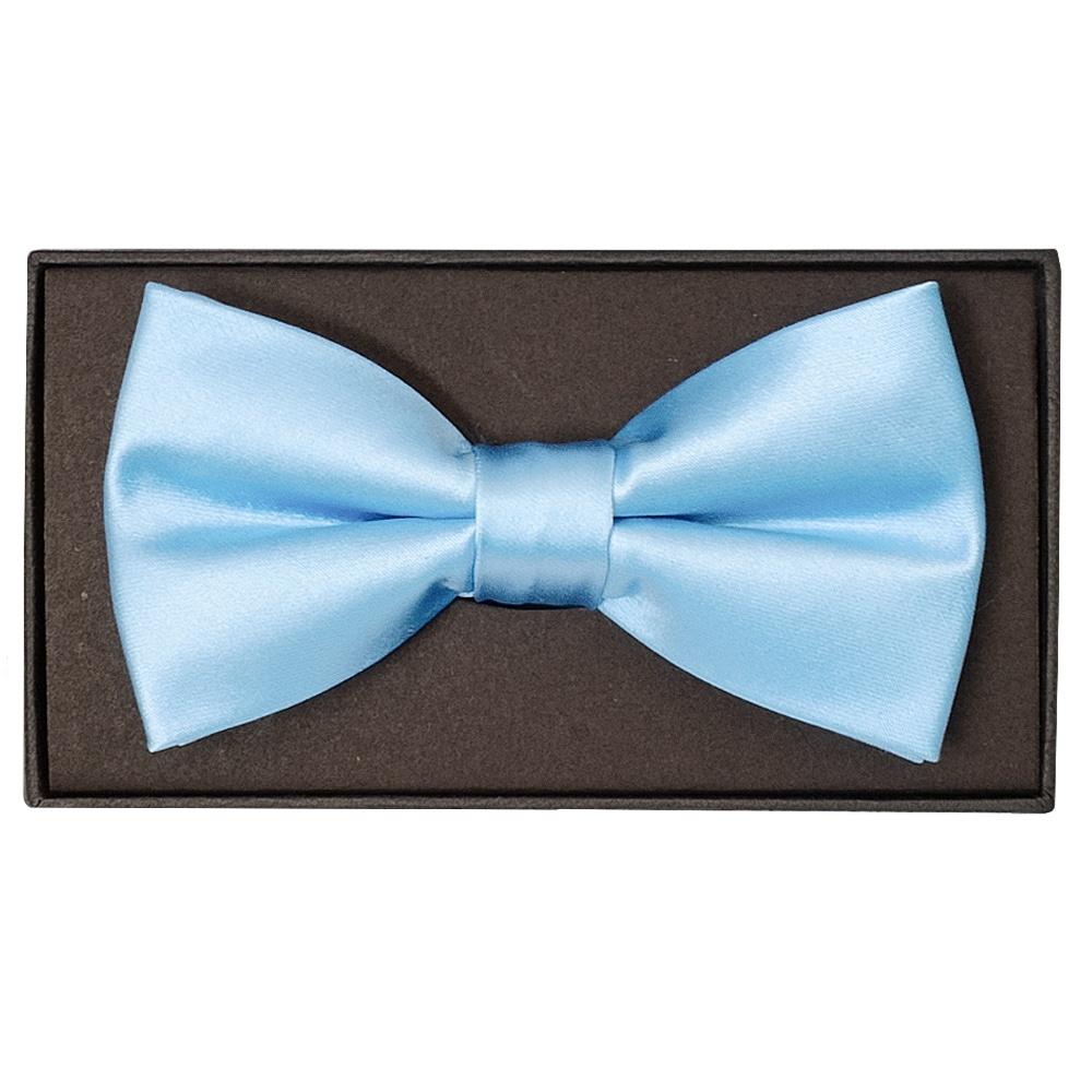d40acc3a7346 Plain Sky Blue Handmade Mens Bow Tie