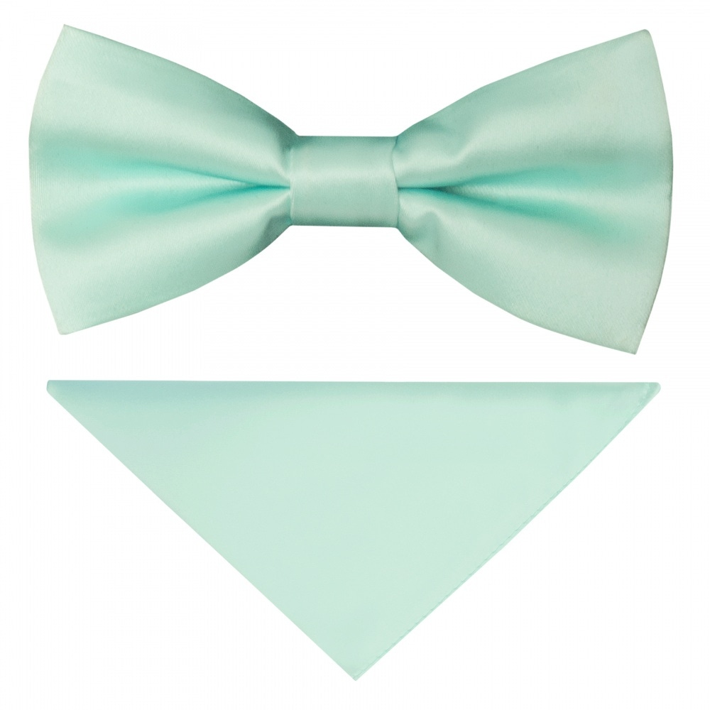 e2b7c59034e67 TIES R US Pre Tied Mint Green Satin Boys Bow Tie and Pocket Square Set