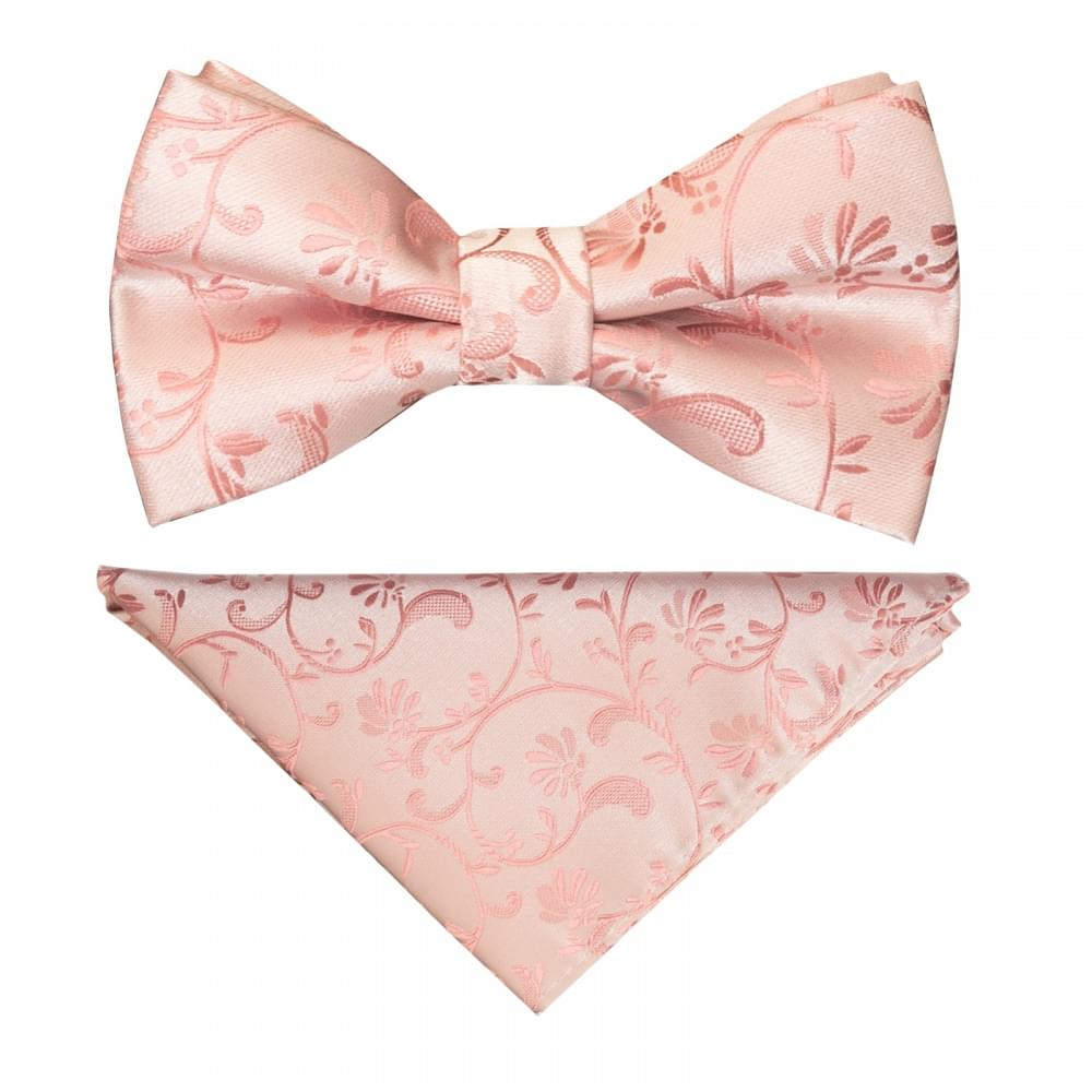 TIES R US Pre Tied Coral Pink Floral Boys Bow Tie and Pocket Square Set