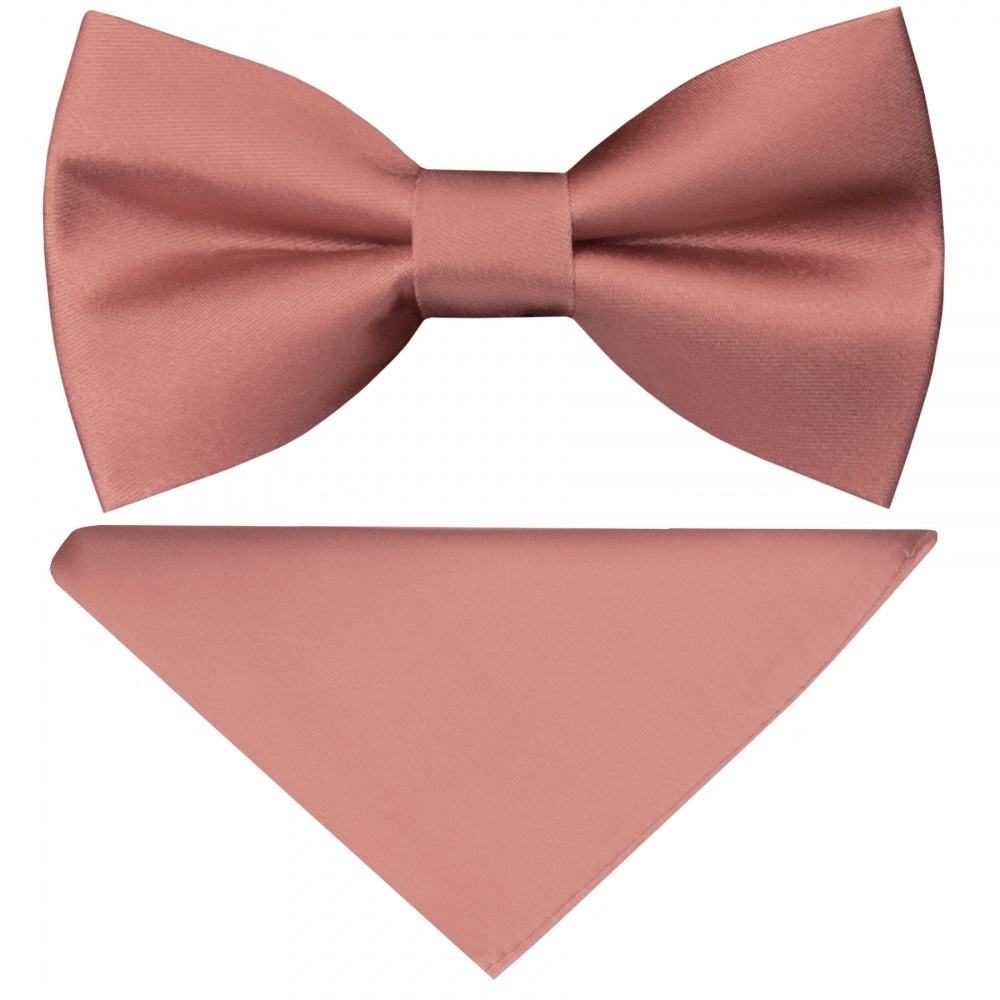 4a0f9bb154c6b Pre Tied Rose Gold Satin Silk Boys Bow Tie and Pocket Square Set