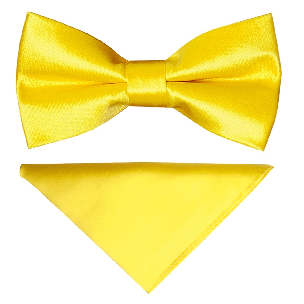 8967f09908710 Pre Tied Sunshine Yellow Satin Boys Bow Tie and Pocket Square Set
