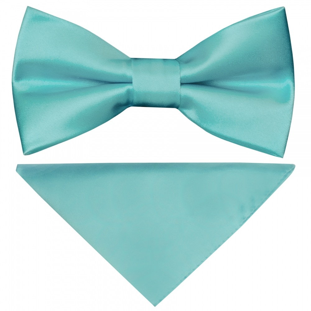 Pre Tied Royal Blue Satin Boys Bow Tie Pocket Square Set Kids Bow Handkerchief