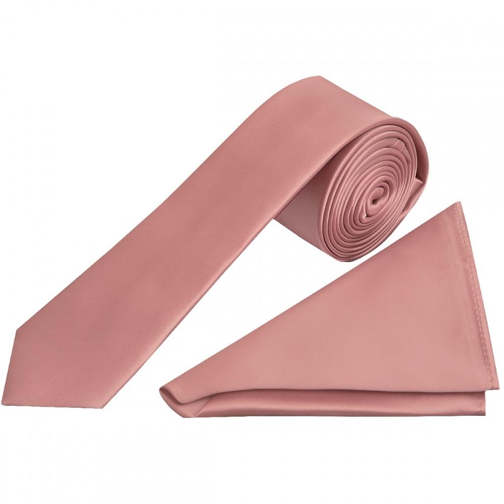 a47ed74dbc2d Rose Gold Satin Skinny Tie and Handkerchief | Slim Wedding Tie Prom