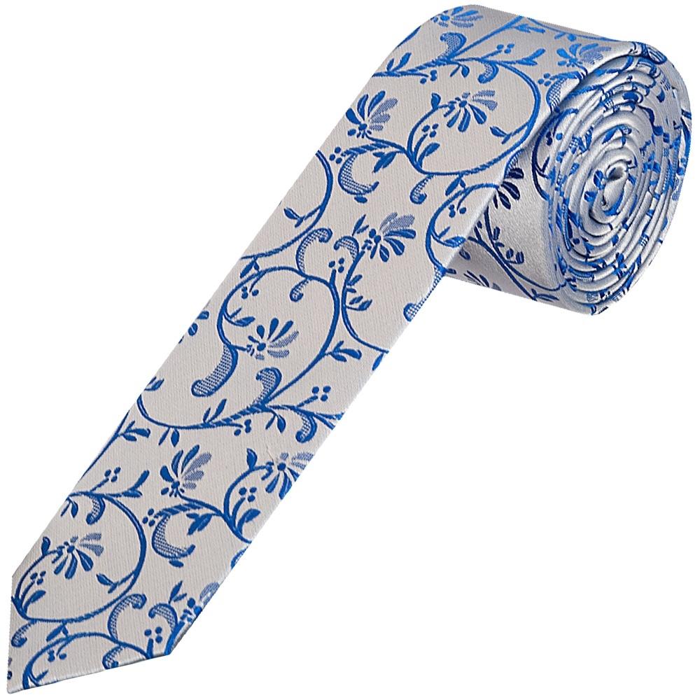 7c29aeda13df Boys Royal Blue Floral Tie | Childrens Skinny Tie | Kids Wedding Tie