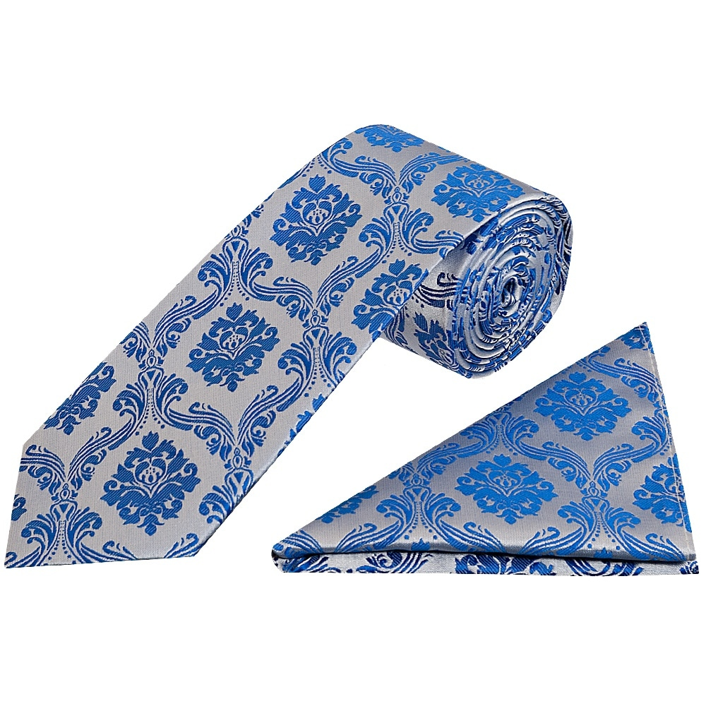 1882c7661be18 Royal Blue Paisley Tie and Handkerchief Set | Regular Tie Hanky Set