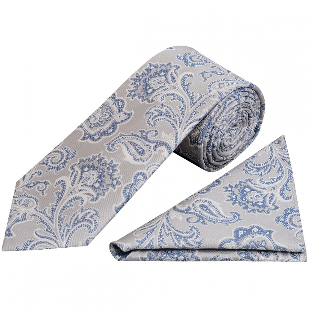 812db01c1e3fd Silver and Blue Paisley Classic Men's Tie and Pocket Square Set