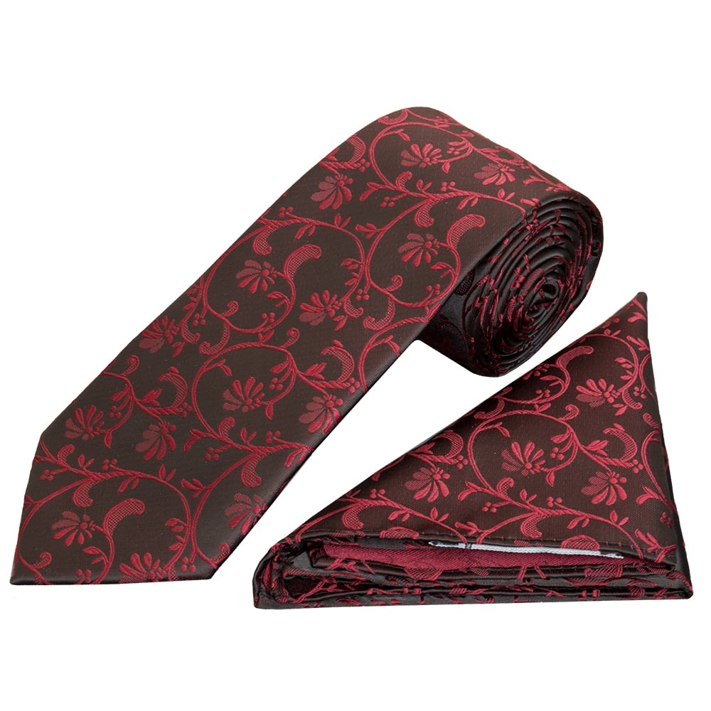 e1e81183817db Black with Burgundy Floral Classic Men's Tie and Pocket Square Set