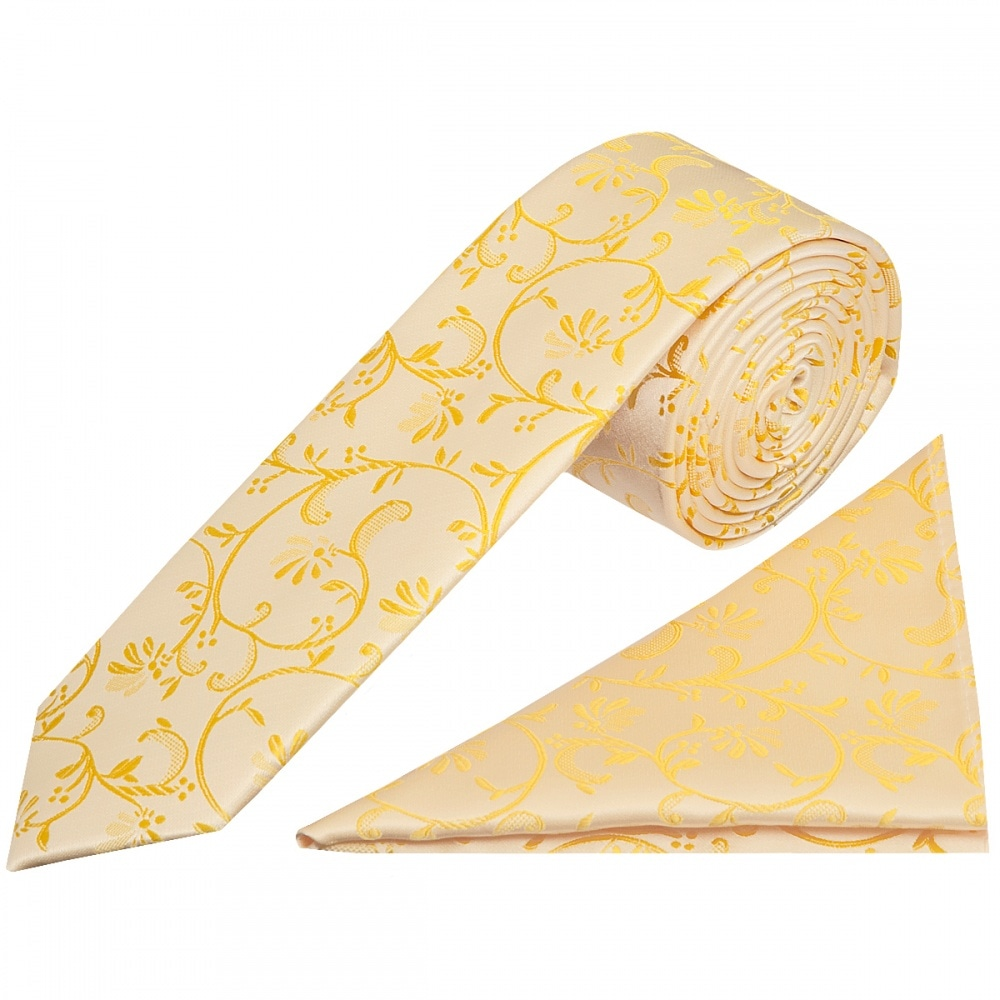 35ac99012d793 Boys Bright Yellow Floral Tie and Handkerchief | Childrens Tie Hanky