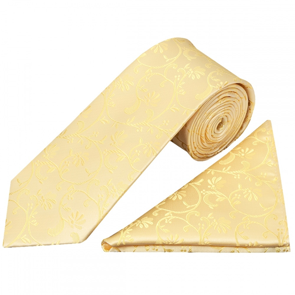620ae344e8c6 Gold Floral Tie and Handkerchief Set | Classic Tie Pocket Square