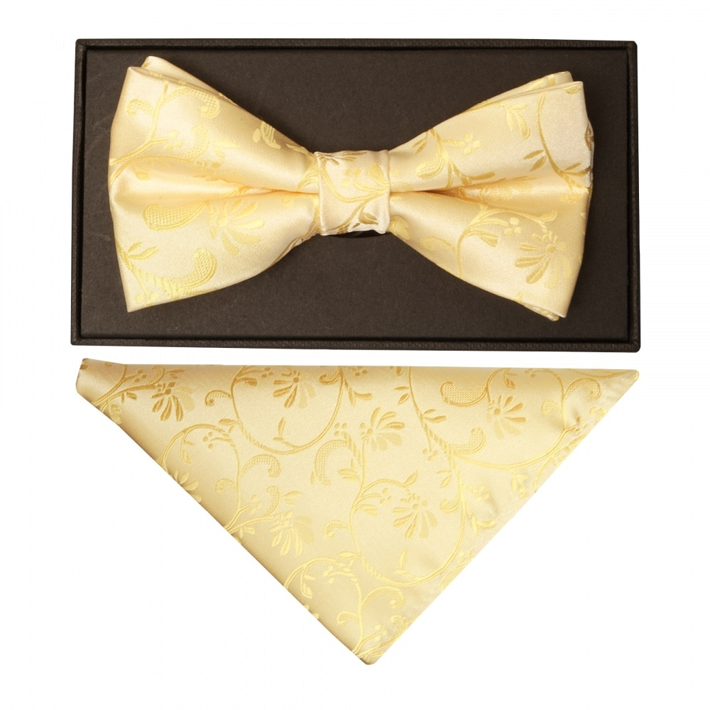 740d52fadb84 Gold Floral Mens Bow Tie and Hanky | Bow Tie and Handkerchief Set