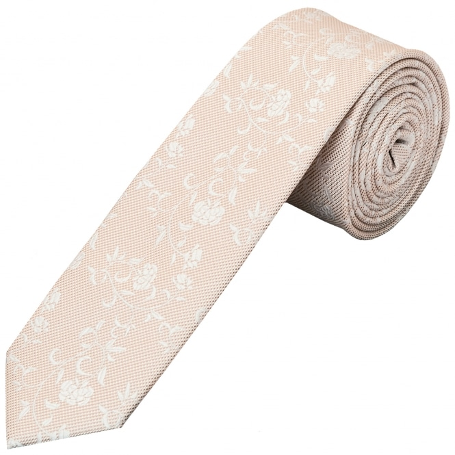 Ties R us Light Peach and White Floral Skinny Boys Tie