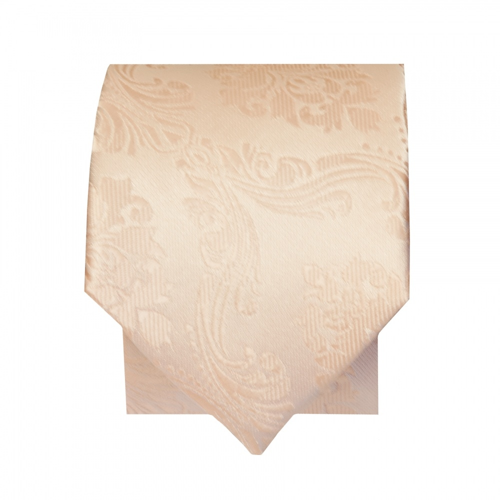 3b0162cdbcff Light Peach Paisley Skinny Tie and Handkerchief | Slim Tie and Hanky