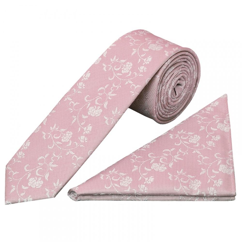 5d1afccf1b92 Pink Floral Tie and Handkerchief Set   Skinny Wedding Tie Hanky Set