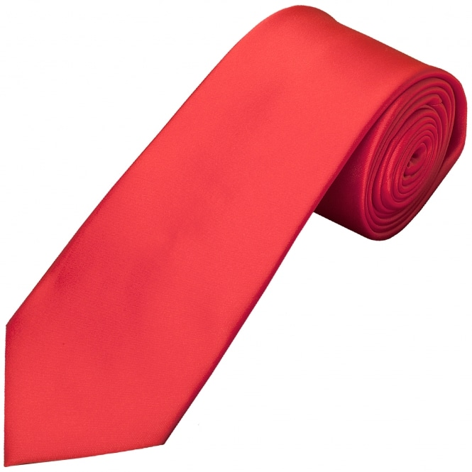 Ties R us Plain Coral Pink Satin Classic Men's Tie