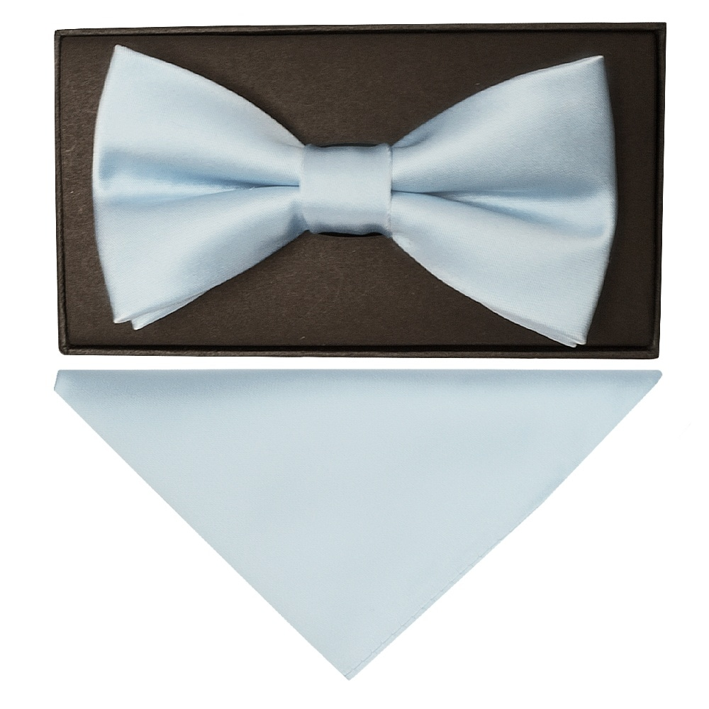 d26b966048ca Light Blue Mens Bow Tie| Dickie Bow Tie | Bow Tie and Handkerchief Set