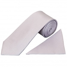 Plain Lilac Textured Silk Classic Men's Tie and Pocket Square Set