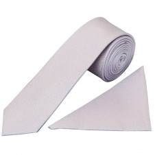 Plain Lilac Textured Silk Skinny Men's Tie and Pocket Square Set