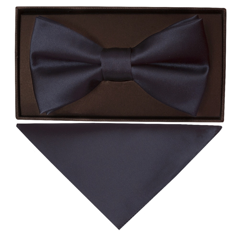 fd46cea5c5f4 Navy Blue Satin Mens Bow Tie Hanky | Dickie Bow |Bow Tie and Hanky Set