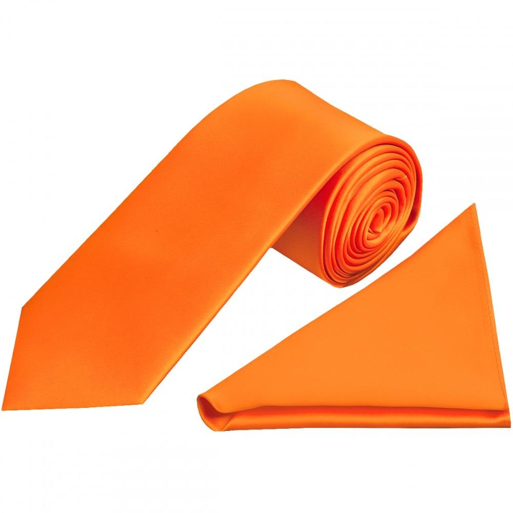 df11cf58cccd Orange Satin Tie and Handkerchief Set   Classic Tie Handkerchief Set