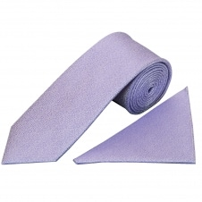 Plain Purple Textured Silk Classic Men's Tie and Pocket Square Set