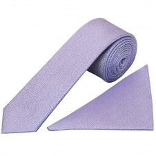 Plain Purple Textured Silk Skinny Men's Tie and Pocket Square Set