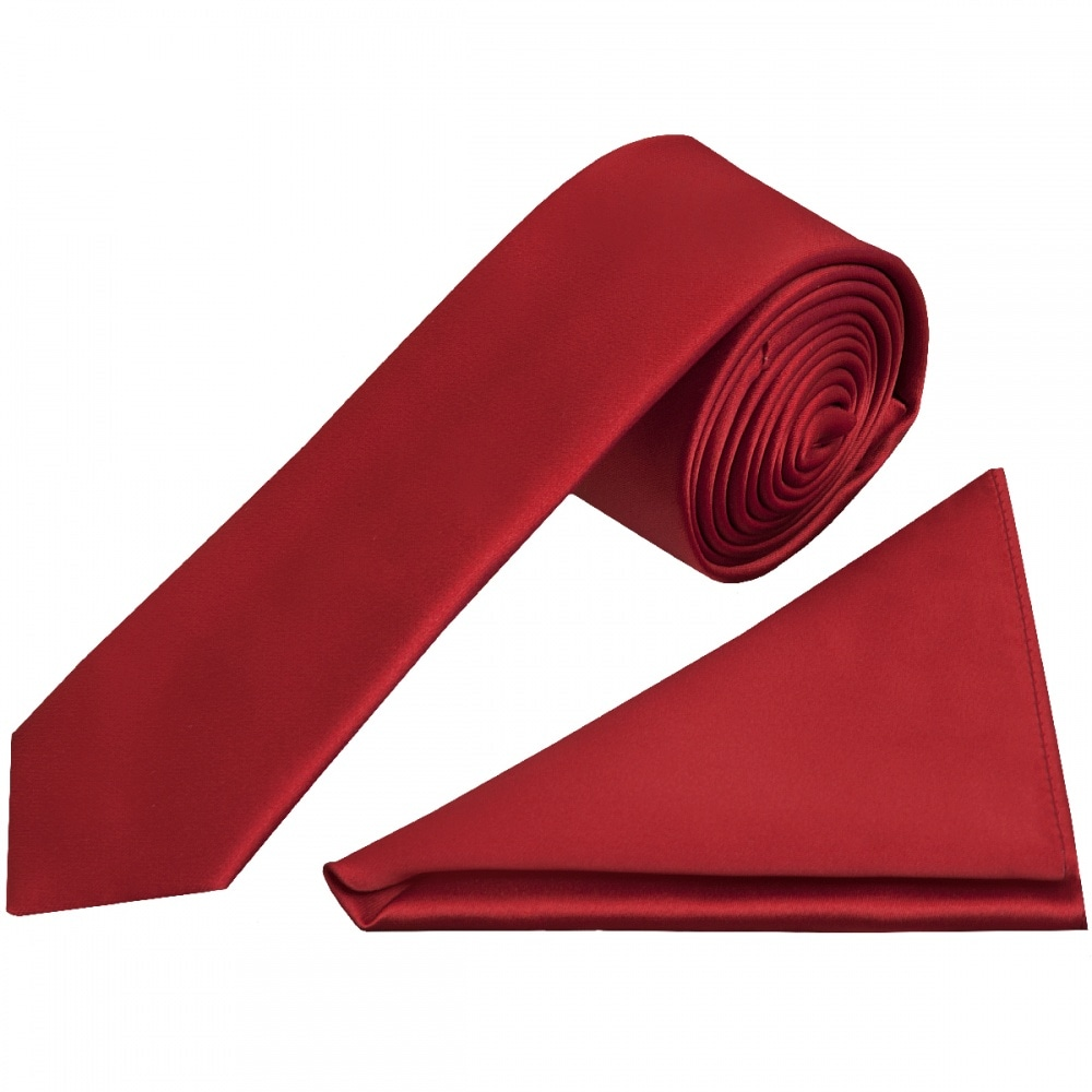 0ebbf310240b Red Wine Satin Tie and Handkerchief Set | Skinny Tie Handkerchief set