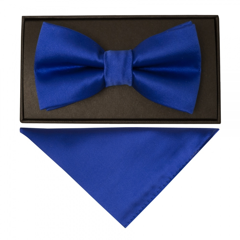 d83ab4d3b897 Royal Blue Mens Bow Tie | Dickie Tie | Bow Tie and Handkerchief Set