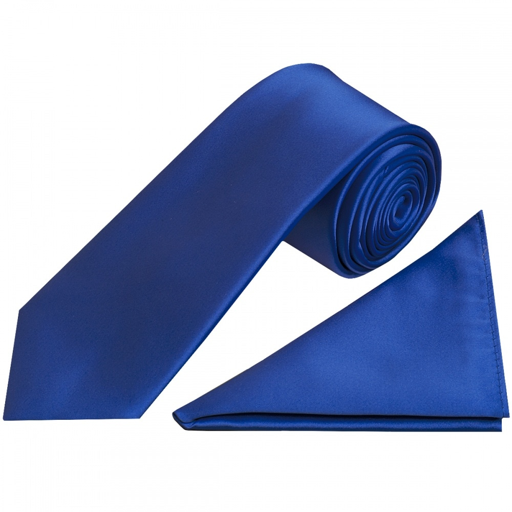 91c3428c1956 Royal Blue Satin Tie and Handkerchief Set|Classic Tie Handkerchief Set