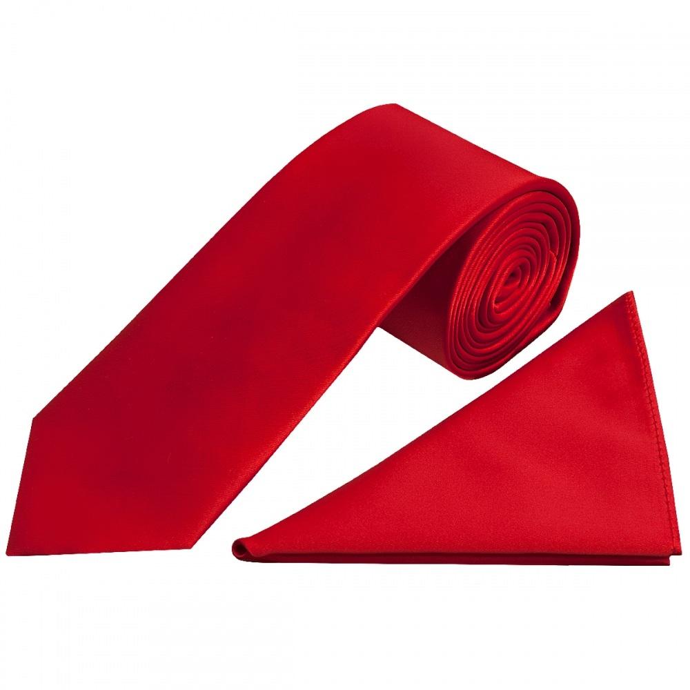6f3c4374a8160 Scarlet Red Satin Tie Handkerchief Set | Classic Tie Pocket Square Set