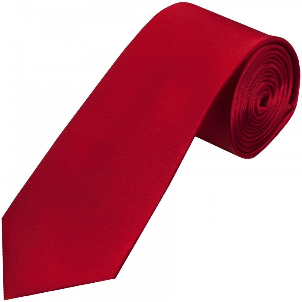 959ba062a4cd9 Plain Scarlet Red Satin Silk Classic Men's Tie and Pocket Square Set