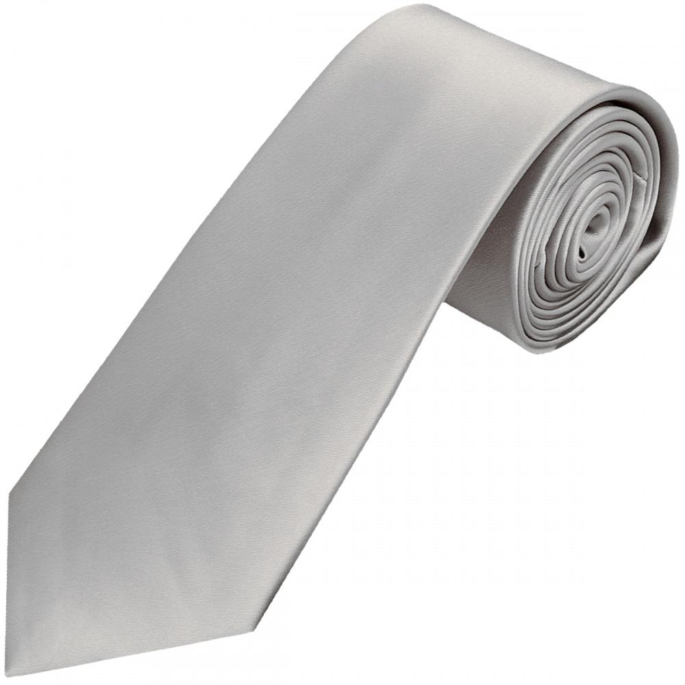 Plain Silver Classic Satin Tie