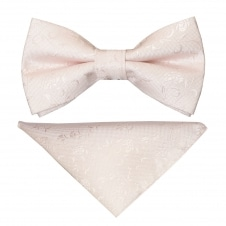 Pre Tied Blush Textured Floral Boys Bow Tie and Pocket Square Set