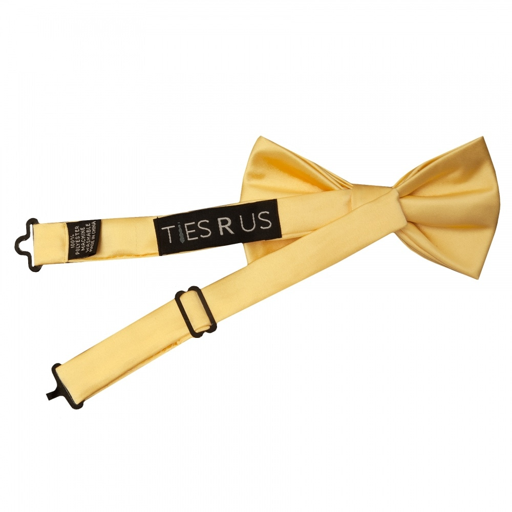Pre Tied Bright Yellow Satin Boys Bow Tie Age 8-11 Children/'s Wedding Bow Tie