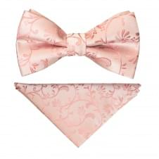 Pre Tied Rose Gold Floral Boys Bow Tie and Pocket Square Set