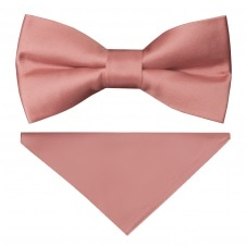00221c1705ef8 Pre Tied Rose Gold Satin Boys Bow Tie and Pocket Square Set