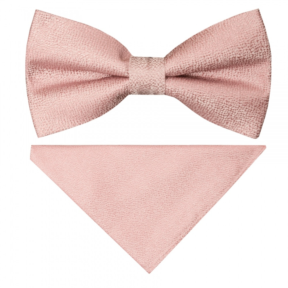 0099a270376f9 Pre Tied Rose Gold Textured Silk Boys Bow Tie and Pocket Square Set