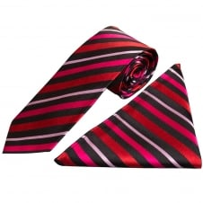 Red and Black Stripe Silk Tie and Handkerchief Set