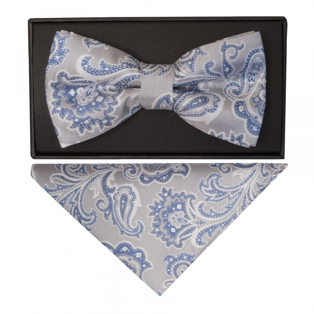 9c7ca118eddf3 TIES R US Silver and Blue Paisley Handmade Mens Bow Tie and Pocket Square  Set