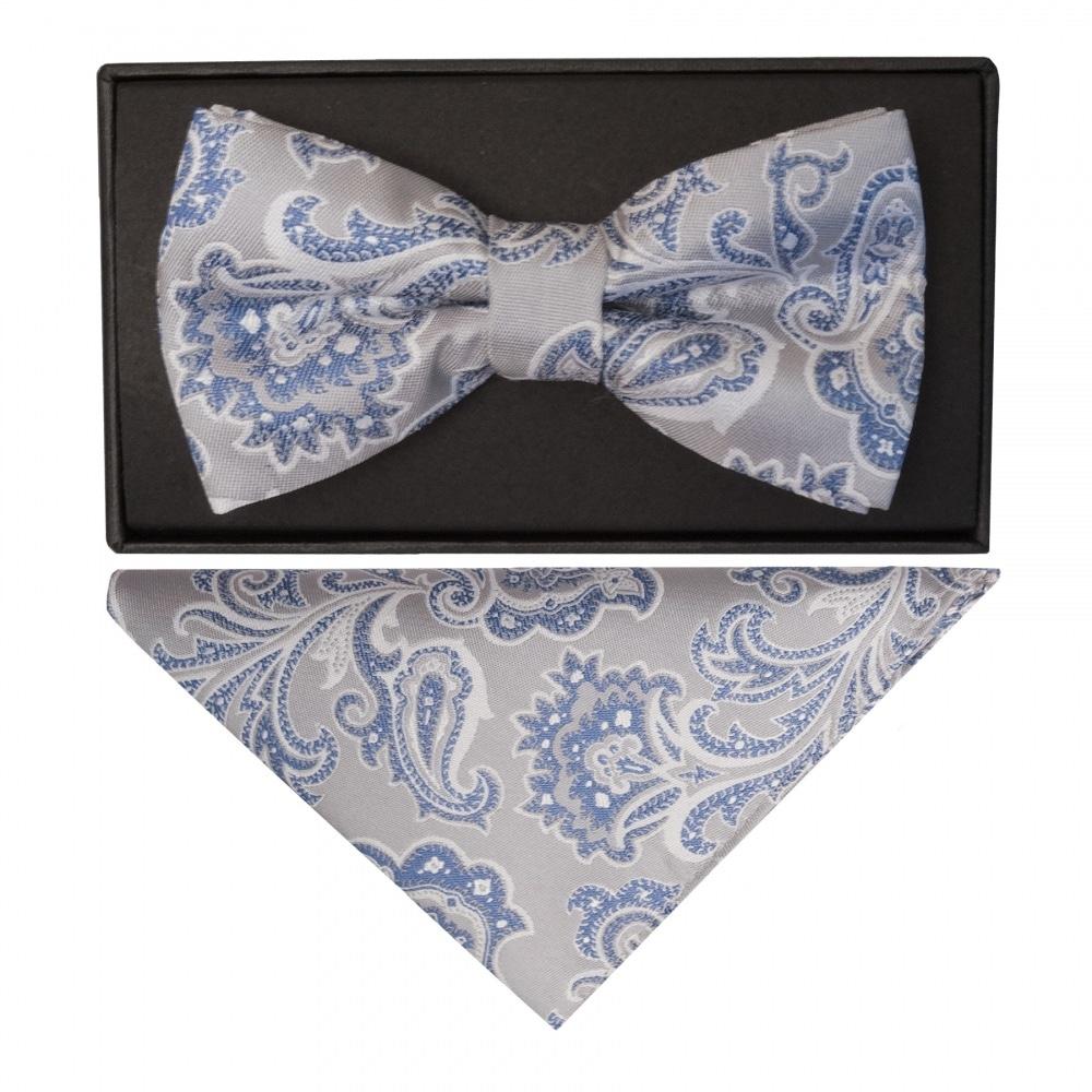 9e9830f9c3fd Silver and Blue Paisley Bow Tie Hanky |Dickie Bow Tie Handkerchief Set
